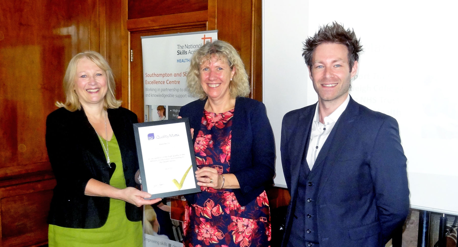 We've been awarded the 'Skills for Health Quality Mark'